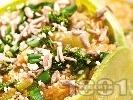 Рецепта Постна пълнена тиквичка с картофи и зеле